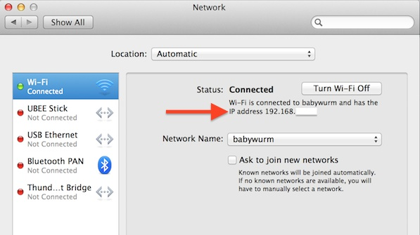 Finding a Macs IP address using System Preferences Network pane