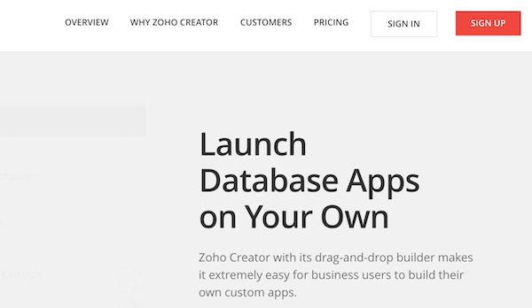 Signing up for Zoho Creator
