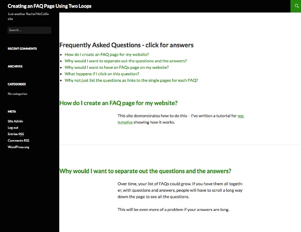 Creating an faq page using two loops final product image what youll be creating faq maxwellsz