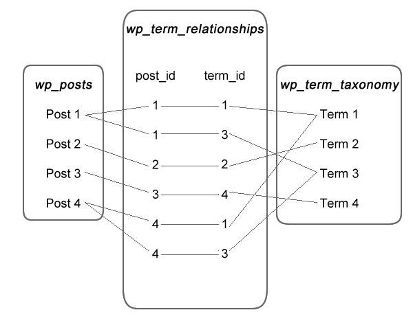 WordPress 文章和分类项目之前的关系