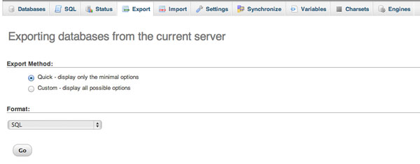 Exporting databases from the current server