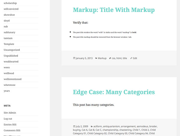 Markup category page with blue colored post titles