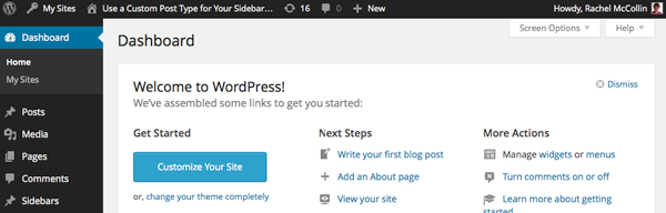WordPress dashboard with Sidebars included in menu
