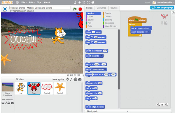 Creating a Script for the Crab Sprite