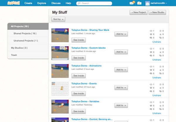My Stuff page