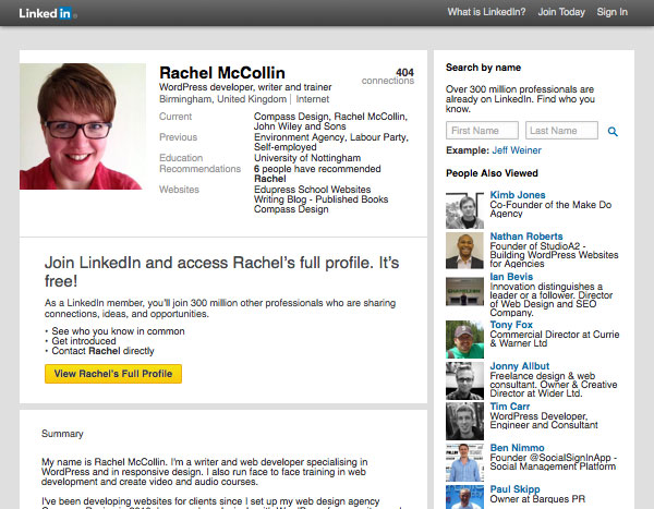 LinkedIn website with Rachel McCollins public profile visible