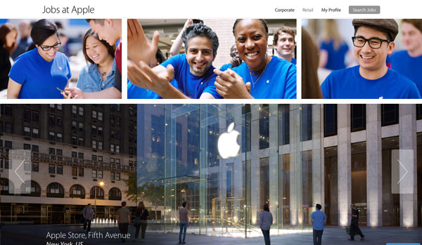 Apple retail jobs site