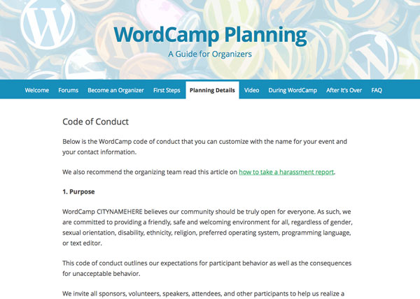 WordCamp code of conduct website
