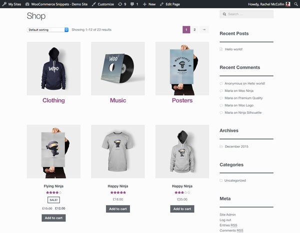 Woocommerce Category Page Template | shop page final