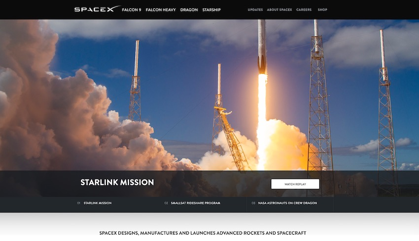 The SpaceX home page with slider on 80 of the visible page