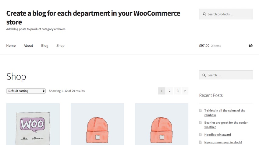 WooCommerce store - front page