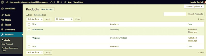 The list of products with taxonomy terms assigned in the WordPress admin