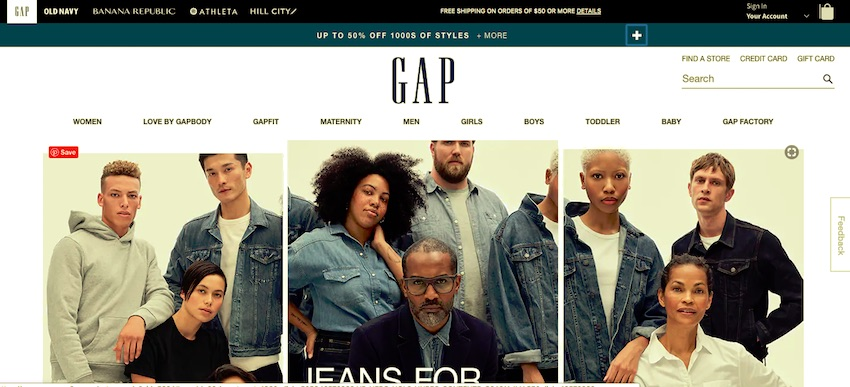 the gap website - menu below the logo white background lots of white space either side of the logo
