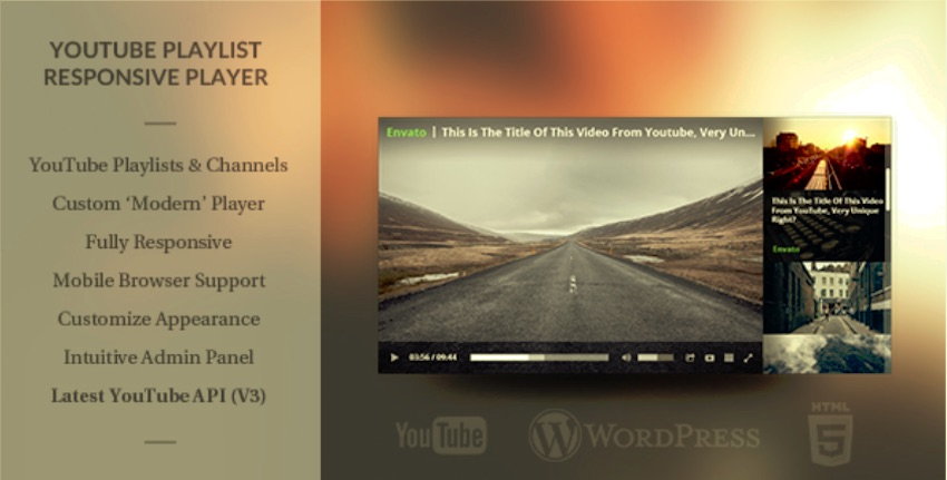Wordpress Responsive Youtube Playlist Video Player plugin