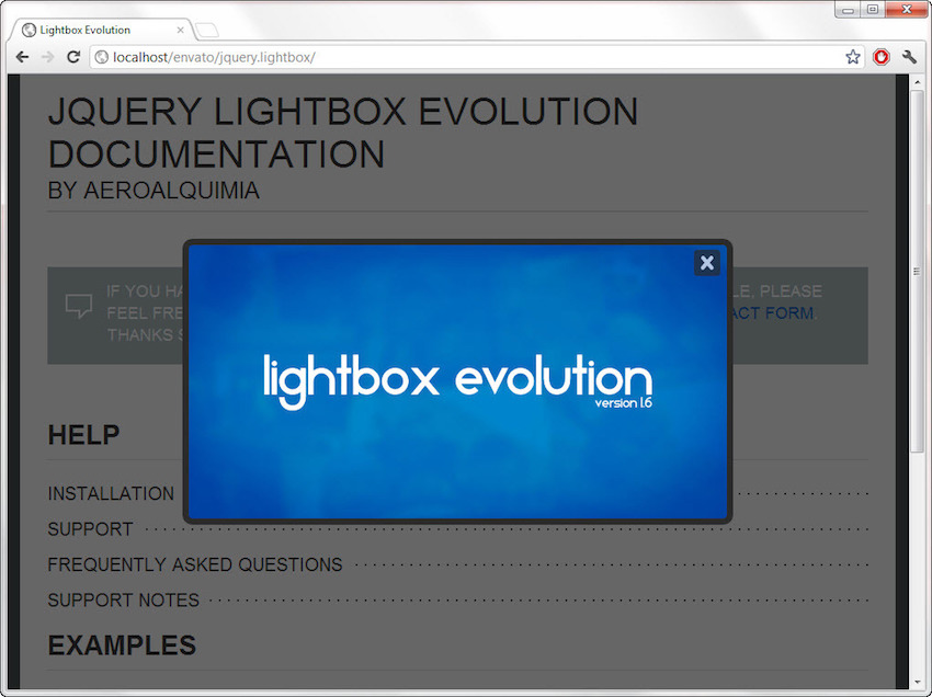 lightbox evolution plugin
