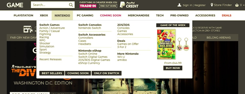 game website with mega menu for nintendo section showing