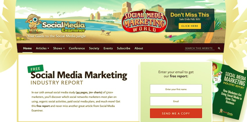 The social media examiner site has no mega menu