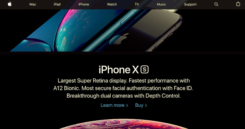 apple home page scrolled down showing sticky menu