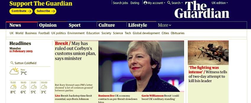 The guardian website doesnt have a sticky menu