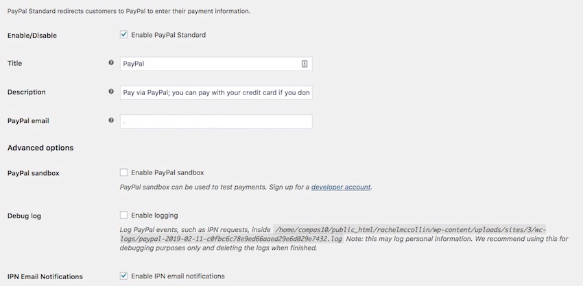 The PayPal set up screen