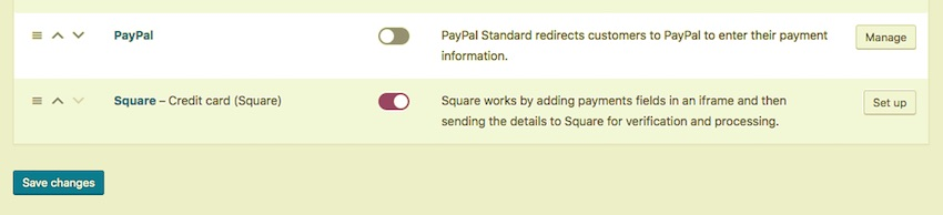 Payment settings screen with Square enabled