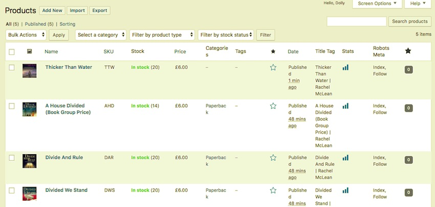 products with inventory in WooCommerce products screen