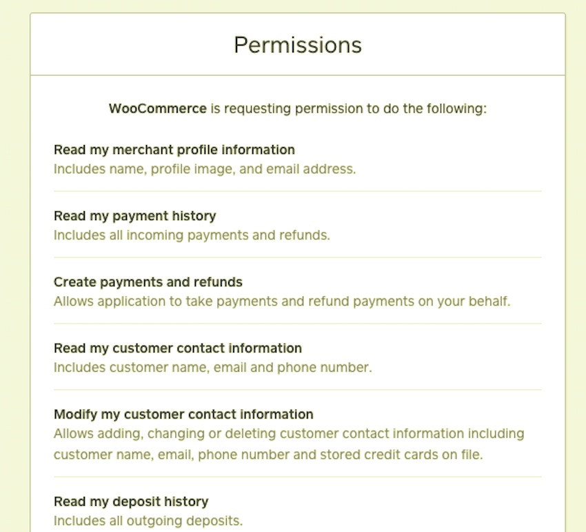 granting permissions to WooCommerce in the Square dashboard