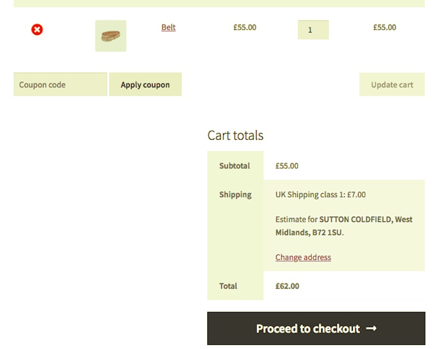 shopping cart with 1 belt and UK shipping costs of 7