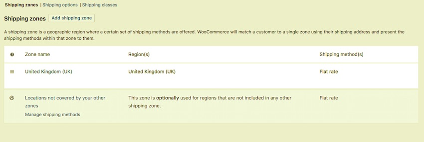 WooCommerce default shipping zones