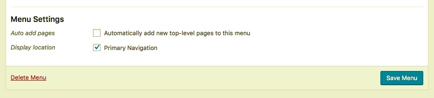 The primary navigation checkbox in the Menus admin screen in WordPress