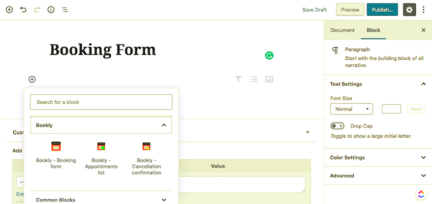 adding a Bookly block to a page