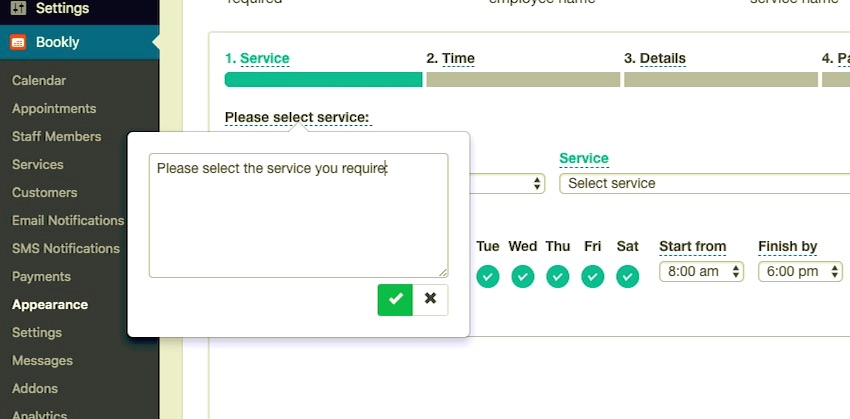 Amending text in the booking form