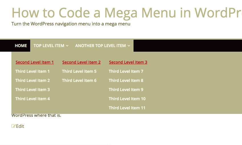 An Easy Way to Code a Mega Menu in WordPress