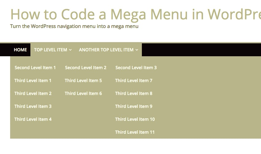 the mega menu with a gray background