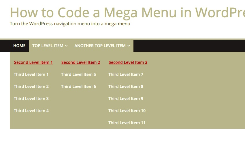 second level items are now red and underlined