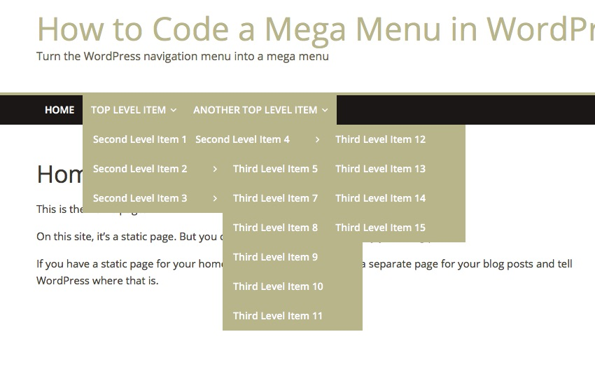 An Easy Way to Code a Mega Menu in WordPress