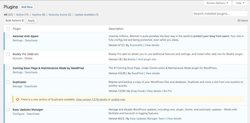 plugin needs updating notification