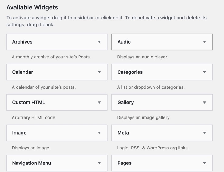 pre-installed WordPress widgets