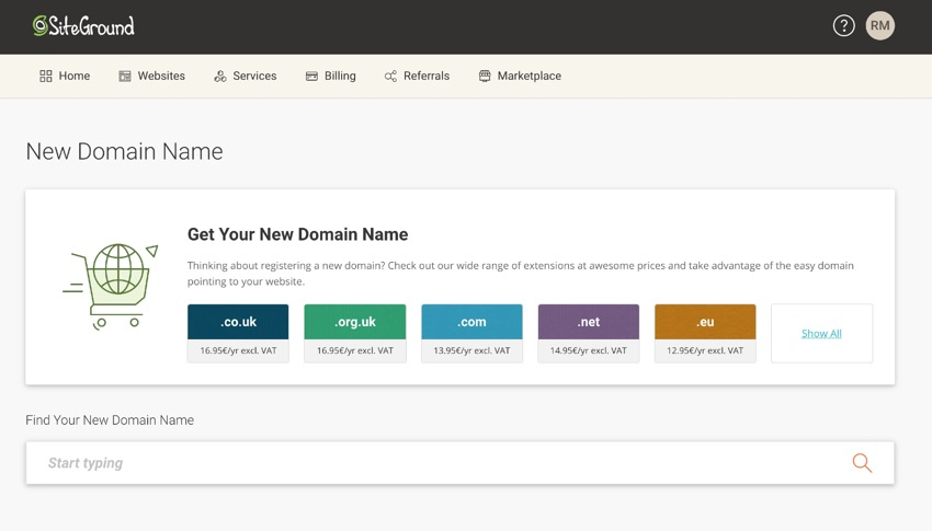 Siteground domain registration screen