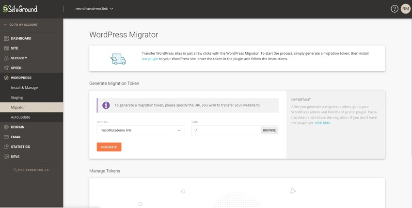 WordPress migrator screen in SiteGround