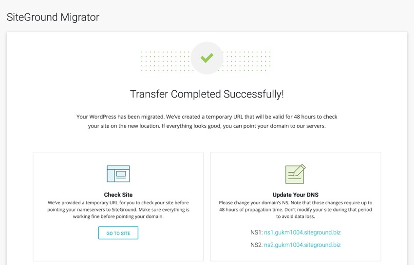 migration success screen