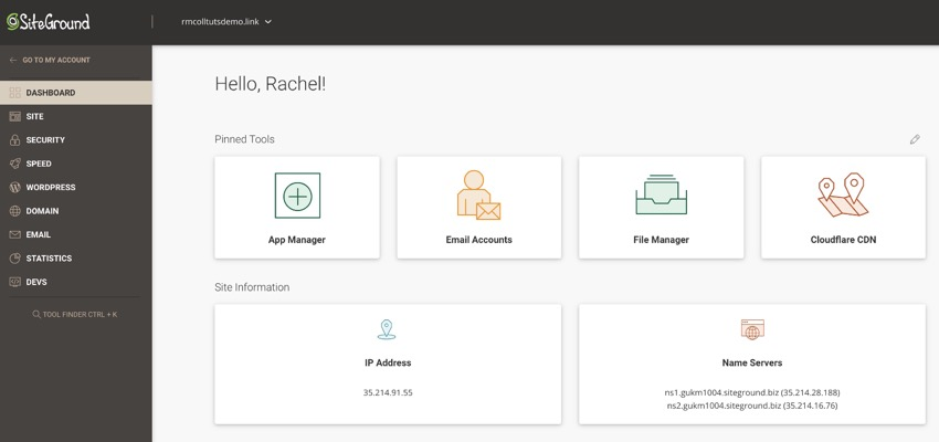 nameservers in the SiteGround dashboard