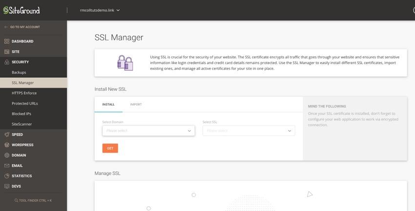 Siteground SSL manager