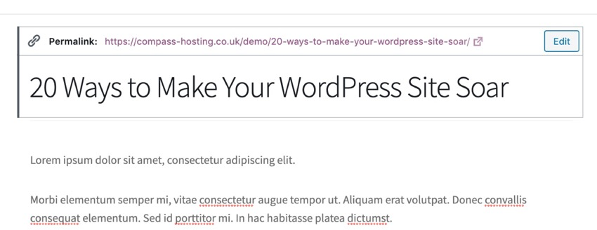 editing the slug in WordPress