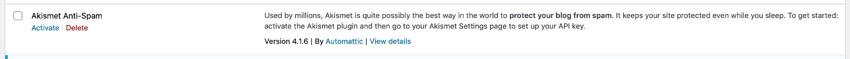 Akismet in plugins screen