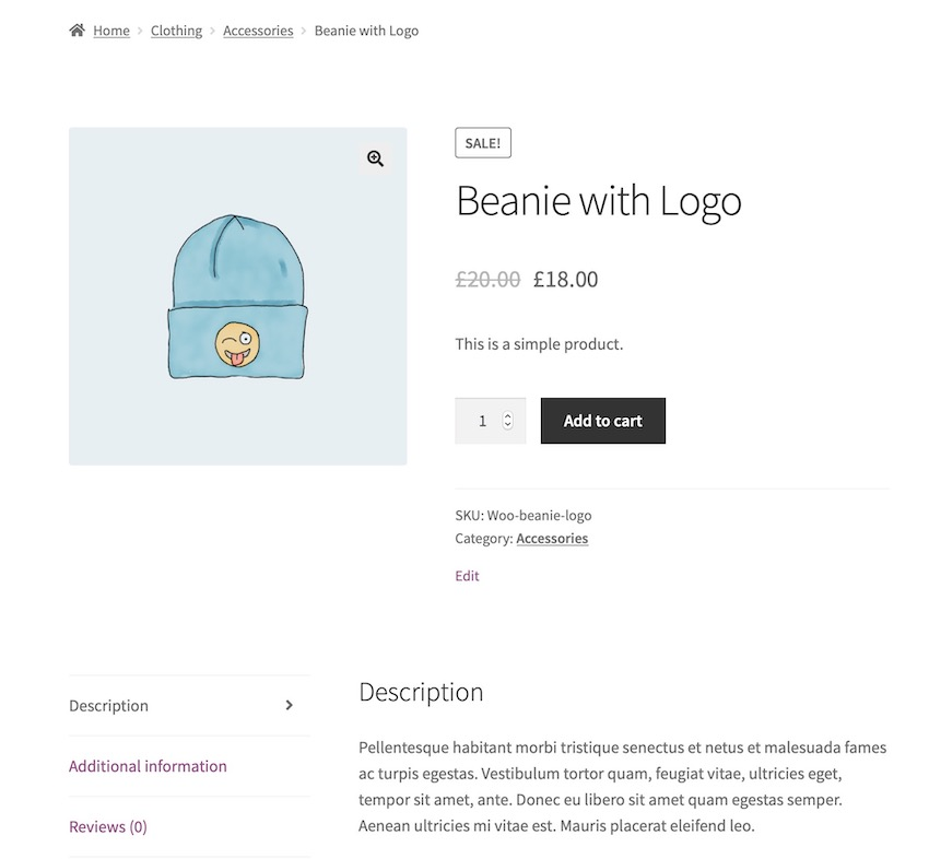 default product page
