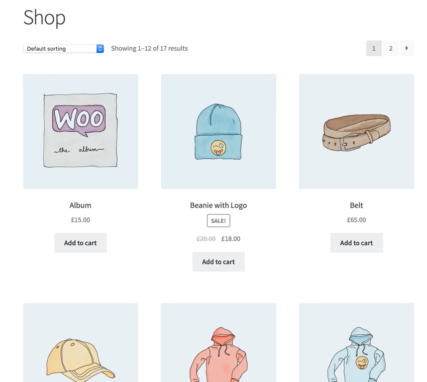 Shop page with no categories