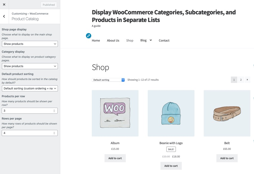 WooCommerce product catalog in Customizer