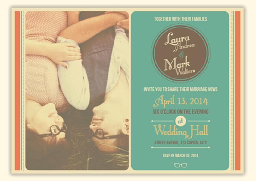 Simple Retro Wedding Card