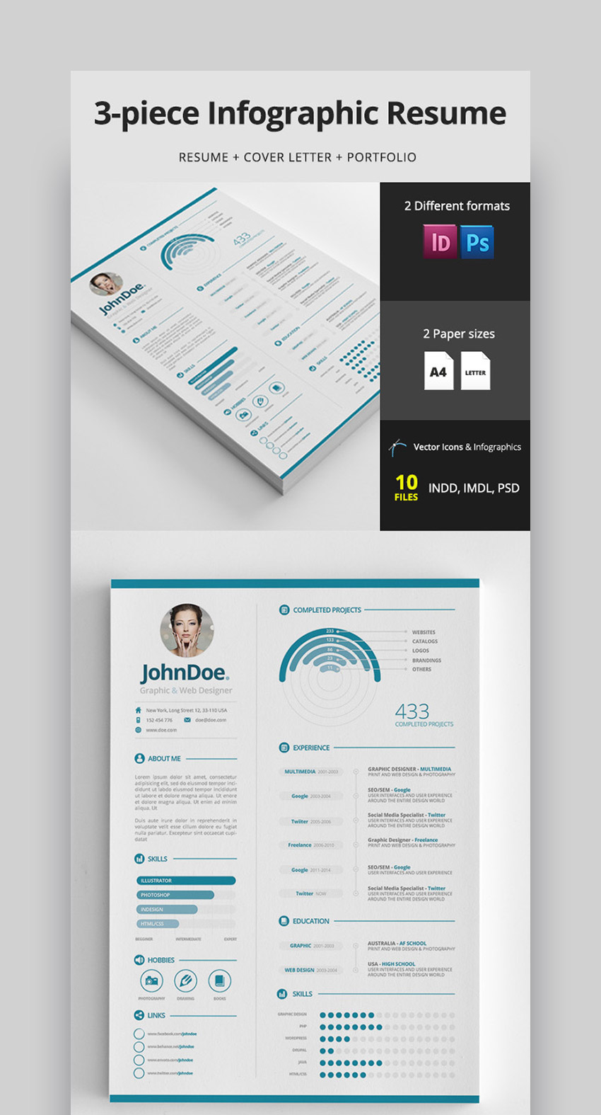 3-Piece Clean Infographic Resume PSD  INDD